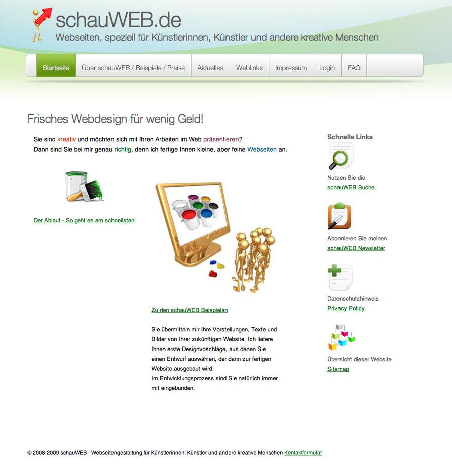schauWEB Startseite 2008/2009
